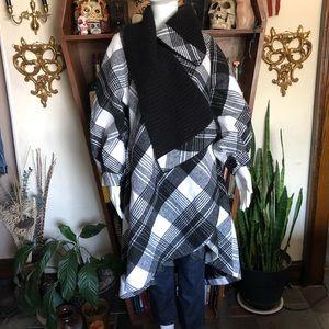 Patrizia Luca Milano Flannel Wrap Cape Coat Jacket